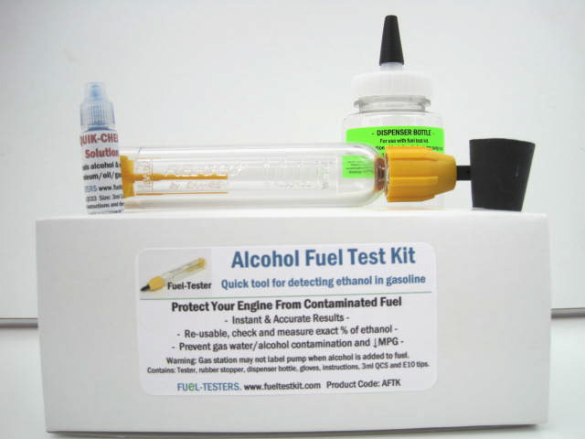 Complete Alcohol Fuel Test Kit AFTK06 includes smaller 6ml QCS and does not include tester stand,