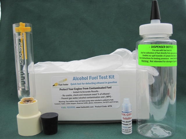 Complete alcohol fuel test kit includes fuel-tester, Quik-Check solution, collection/dispenser bottle, E10 precautions and more.