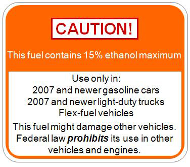 Copy of EPA proposed label for new E15 gas pumps