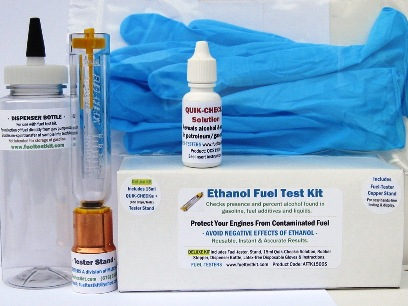 Complete DELUXE alcohol fuel test kit includes fuel-tester, Quik-Check solution, collection/dispenser bottle, copper stand, E10 precautions and more.