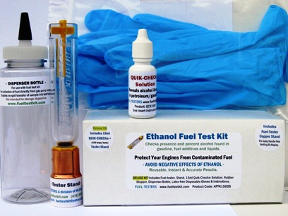 Complete alcohol fuel test kit includes fuel-tester, collection/dispenser bottle, E10 precautions and more.