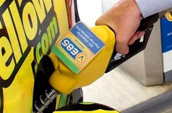 E85 gas pump closeup image - yellow color is prominent...