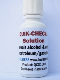 15ml Quik-Check Test Kit - Instantly checks gas for alcohol/water.