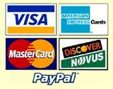 We accept most credit cards, paypal, cash and more. order online or call/email for invoice.